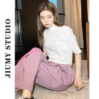 T-shirt White, gray S,M,L Summer 2021 Short sleeve Half high collar Self cultivation Regular routine commute cotton 86% (inclusive) -95% (inclusive) Korean version