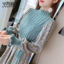Dress Winter 2020 S M L XL Mid length dress singleton  Long sleeves commute Crew neck High waist Solid color Socket A-line skirt bishop sleeve Others 25-29 years old Type A Yu Wei's love Korean version More than 95% other Other 100% Pure e-commerce (online only)