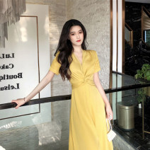 Women's large Summer 2021 Red yellow L XL S M Dress commute Socket Yilian products 30% and below longuette Polyester 97.6% polyurethane elastic fiber (spandex) 2.4% trousers