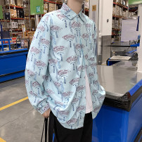 shirt Youth fashion Others M,L,XL,2XL,3XL,4XL,5XL White, blue routine other Long sleeves easy Other leisure spring N3-18-C105 teenagers tide Solid color No iron treatment