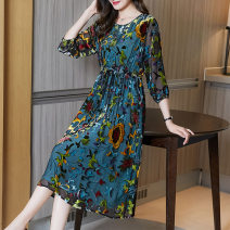 Women's large Summer 2021 Picture color M L XL 2XL 3XL Dress singleton  commute easy moderate Socket three quarter sleeve Dot Retro other Three dimensional cutting routine Fine posture 40-49 years old longuette Other 100% Pure e-commerce (online only)