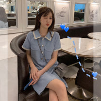 Women's large Summer 2021 blue 1=S,2=M,3=L,4=XL Dress singleton  commute Short sleeve Solid color Korean version Polo collar routine Button 96% and above Short skirt