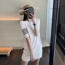 Women's large Summer 2020 white 1=S,2=M,3=L,4=XL Dress singleton  commute Socket Short sleeve Korean version Polo collar Medium length 71% (inclusive) - 80% (inclusive) Medium length