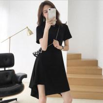Dress Summer 2020 black 1=S,2=M,3=L,4=XL Mid length dress singleton  Short sleeve commute Crew neck High waist Solid color Socket Irregular skirt routine Others Type A Korean version