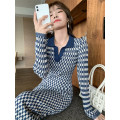 Women's large Autumn 2020 Blue Plaid Dress 1 = s, 2 = m, 3 = large L, 4 = Large XL Dress singleton  commute Self cultivation moderate Socket Long sleeves Korean version Polo collar routine 18-24 years old Medium length other