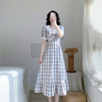 Dress Summer 2021 lavender Specific according to the usual number of yards and details page size Oh XS S M L longuette singleton  Short sleeve commute Admiral High waist lattice zipper A-line skirt routine Others 18-24 years old Type A Kavrsorle / Card Office Retro KSD2181 More than 95% other