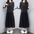 Dress Spring 2021 Elegant black S,M,L,XL,2XL Mid length dress Two piece set Long sleeves commute Crew neck Elastic waist Socket Big swing other Others Type A Other / other Korean version polyester fiber