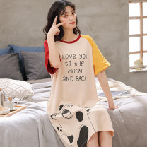 Nightdress Other / other Sweet Sleeveless Leisure home Short skirt summer Plants and flowers youth Crew neck cotton printing More than 95% Knitted cotton fabric