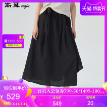 skirt Spring of 2019 M L black longuette Retro Natural waist Irregular Solid color Type A 30-34 years old ADCQ001 More than 95% Si Qin hemp Flax 100%
