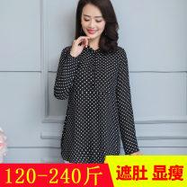 Lace / Chiffon Autumn of 2018 Black wave point XL 2XL 3XL 4XL 5XL 6XL Long sleeves commute Socket singleton  easy Medium length Qianlitong 1334-2 Korean version Polyester 100%