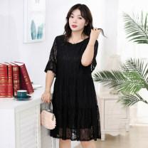 Dress Autumn of 2019 XL 2XL 3XL 4XL 5XL 6XL Mid length dress singleton  Long sleeves commute Crew neck Loose waist Big swing routine Others 35-39 years old Qianlitong Korean version Lace 91% (inclusive) - 95% (inclusive) Lace nylon