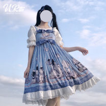 Dress Summer of 2019 Green blue S M L longuette Sleeveless Sweet camisole 18-24 years old urtto Wizard of Oz jsk More than 95% polyester fiber Polyethylene terephthalate (polyester) 99% flax 1% Lolita Pure e-commerce (online only)