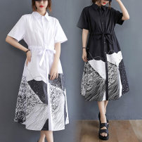 Women's large Summer 2021 White, black L [100-140 Jin recommended], XL [140-180 Jin recommended] Dress singleton  commute easy moderate Socket Short sleeve literature Polo collar Polyester, cotton routine Z0327W 31% (inclusive) - 50% (inclusive) Medium length
