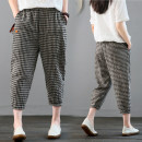 Women's large Summer 2020 Picture color trousers singleton  commute easy moderate lattice literature polyester Three dimensional cutting pocket 51% (inclusive) - 70% (inclusive) Ninth pants