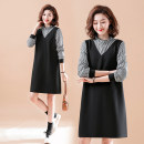 Women's large Spring 2021 black XL [100-120 Jin recommended], 2XL [120-140 Jin recommended], 3XL [140-160 Jin recommended], 4XL [160-180 Jin recommended], 5XL [180-200 Jin recommended] Dress Fake two pieces commute easy moderate Socket Long sleeves Plaid, solid literature Lotus leaf collar polyester