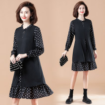 Women's large Spring 2021 Picture color Dress Fake two pieces commute easy moderate Socket Long sleeves Dot, solid literature Crew neck polyester Three dimensional cutting routine 51% (inclusive) - 70% (inclusive) Middle-skirt