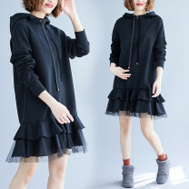 Women's large Spring 2021 black L [recommended 110-170 kg], XL [recommended 170-240 kg] Dress singleton  commute easy moderate Socket Long sleeves Solid color literature Hood polyester Three dimensional cutting routine S0319W Bandage 51% (inclusive) - 70% (inclusive) Middle-skirt Ruffle Skirt zipper