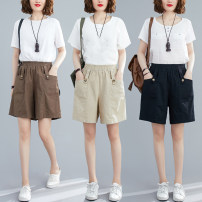 Women's large Summer 2021 Brown, apricot, black L [recommended 100-130 kg], XL [recommended 130-160 kg], 2XL [recommended 160-190 kg] trousers singleton  commute easy moderate Solid color literature Polyester, cotton Three dimensional cutting W0424 pocket 31% (inclusive) - 50% (inclusive) shorts