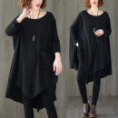 Women's large Spring 2021 black T-shirt singleton  commute easy moderate Socket Long sleeves Solid color literature Crew neck Medium length polyester Three dimensional cutting Bat sleeve pocket 51% (inclusive) - 70% (inclusive)