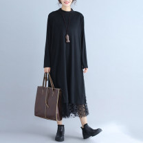 Dress Winter 2020 black Average size [recommended 80-130 kg] Mid length dress singleton  Long sleeves commute Half high collar Dot routine literature Gauze X0816 51% (inclusive) - 70% (inclusive) polyester fiber