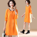 Women's large Spring 2021 orange L [recommended 100-120 kg], XL [recommended 120-140 kg], 2XL [recommended 140-160 kg], 3XL [recommended 160-180 kg], 4XL [recommended 180-200 kg], 5XL [recommended 200-220 kg] Dress singleton  commute easy moderate Socket Long sleeves Solid color literature other