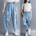 Women's large Summer 2021 wathet M [recommended 100-125 kg], l [recommended 125-150 kg], XL [recommended 150-175 kg], 2XL [recommended 175-200 kg] Jeans singleton  commute easy moderate shape literature Denim, polyester printing and dyeing hole 31% (inclusive) - 50% (inclusive) trousers