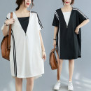Women's large Summer 2021 White, black Average size [recommended 100-220 kg] Dress Fake two pieces commute easy moderate Socket Short sleeve Solid color literature V-neck polyester fiber routine S0327W zipper 51% (inclusive) - 70% (inclusive)