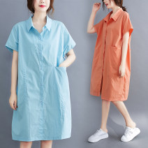 Women's large Summer 2020 Blue, orange Average size [recommended 110-230 kg] Dress singleton  commute easy thin Cardigan Short sleeve Solid color literature Polo collar Cotton, polyester routine X0629S pocket 31% (inclusive) - 50% (inclusive) Medium length