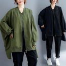 Women's large Spring 2021 Army green, black Average size [recommended 110-240 kg] Jacket / jacket singleton  commute easy moderate Cardigan Long sleeves Solid color literature stand collar routine Polyester, cotton Three dimensional cutting routine S0911W pocket 31% (inclusive) - 50% (inclusive)