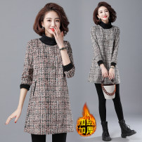 Women's large Winter 2020 Brown, off white L [recommended 100-115 kg], XL [recommended 115-130 kg], 2XL [recommended 130-140 kg], 3XL [recommended 140-150 kg], 4XL [recommended 150-160 kg] Dress singleton  commute easy thickening Socket Long sleeves literature High collar polyester fiber routine