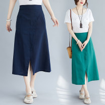 Women's large Summer 2020 Grey, green, navy Average size [recommended 100-210 kg] skirt singleton  commute easy moderate Solid color literature polyester 51% (inclusive) - 70% (inclusive) Medium length