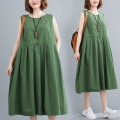 Women's large Summer 2021 green Average size [100-200kg recommended] Dress singleton  commute easy thin Socket Sleeveless Solid color literature Crew neck Polyester, cotton Three dimensional cutting H0722W 31% (inclusive) - 50% (inclusive) Medium length