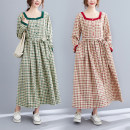 Dress Spring 2021 Green plaid with belt , Red plaid with belt L [recommendation 90] - 115 Jin] , XL [recommendation 115] - 135 kg] longuette singleton  Long sleeves commute square neck Loose waist lattice Socket routine Others Type A literature Sticking cloth S0113W 51% (inclusive) - 70% (inclusive)