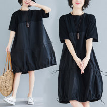 Women's large Summer 2021 black XL [recommended 100-125 kg], 2XL [recommended 125-150 kg], 3XL [recommended 150-175 kg], 4XL [recommended 175-200 kg] Dress singleton  commute easy moderate Socket Short sleeve Solid color literature Crew neck Polyester, cotton routine 31% (inclusive) - 50% (inclusive)