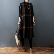 Dress Spring 2021 Black, brown M [suggested 100-115 kg], l [suggested 115-130 kg], XL [suggested 130-145 kg], 2XL [suggested 145-160 kg] Mid length dress singleton  Long sleeves commute Polo collar Loose waist lattice Single breasted shirt sleeve literature pocket S0113W polyester fiber