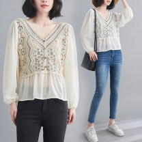 Women's large Summer 2021 Apricot, white Average size [recommended 100-180 kg] shirt singleton  commute easy thin Socket Nine point sleeve literature V-neck have cash less than that is registered in the accounts polyester fiber Three dimensional cutting puff sleeve Z0321W Gouhua hollow Hollowing out