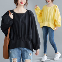 Women's large Spring 2021, summer 2021 Yellow, black M [recommended 110-150 kg], l [recommended 150-190 kg], XL [recommended 190-240 kg] T-shirt singleton  commute easy moderate Socket Long sleeves Solid color literature Crew neck routine polyester fiber Three dimensional cutting Bat sleeve Z0324W