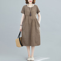 Women's large Summer 2021 Brown, red, blue M [suggested 100-120 kg], l [suggested 120-140 kg], XL [suggested 140-160 kg], 2XL [suggested 160-180 kg] Dress singleton  commute easy moderate Socket Short sleeve lattice literature Crew neck Polyester, cotton routine 31% (inclusive) - 50% (inclusive)