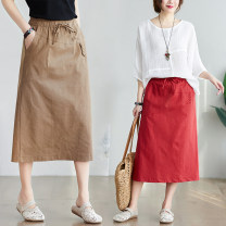 Women's large Summer 2020 Dark Khaki, black, brick red L [recommended 100-145 kg], XL [recommended 145-190 kg] skirt singleton  commute easy moderate Solid color literature polyester S0418X pocket 51% (inclusive) - 70% (inclusive) Medium length