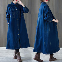 Women's large Spring 2021 Blue, black L [100-150 Jin recommended], XL [150-200 Jin recommended] Windbreaker singleton  commute easy moderate Cardigan Long sleeves Solid color literature Polo collar Medium length Denim, cotton Three dimensional cutting shirt sleeve pocket