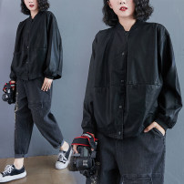 Women's large Winter 2020, autumn 2020 black L [suggested 110-150 kg], XL [suggested 150-190 kg], 2XL [suggested 190-240 kg] Jacket / jacket singleton  commute easy moderate Cardigan Long sleeves Solid color literature stand collar routine Polyester, PU routine S1001 pocket