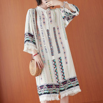 Women's large Summer 2021 white Average size [recommended 100-220 kg] Dress singleton  commute easy thin Cardigan three quarter sleeve shape literature stand collar Polyester, cotton printing and dyeing pagoda sleeve H0610X Button 31% (inclusive) - 50% (inclusive) Medium length other tassels