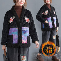 Women's large Winter 2020, autumn 2020 black cotton-padded clothes singleton  commute easy thickening Cardigan Long sleeves Plants and flowers literature V-neck routine polyester routine Other / other Embroidery 51% (inclusive) - 70% (inclusive)