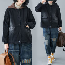 Women's large Winter 2020, autumn 2020 Coffee hat, black hat L [recommended 100-155 kg], XL [recommended 155-210 kg] Jacket / jacket singleton  commute easy thickening Cardigan Long sleeves Solid color literature Hood Medium length Denim, cotton Three dimensional cutting bishop sleeve X1014W