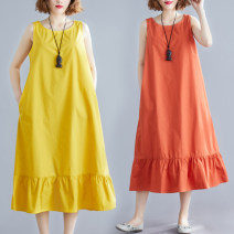 Women's large Summer 2021 Ginger, brick red L [recommended 100-120 kg], XL [recommended 120-140 kg], 2XL [recommended 140-160 kg] Dress singleton  commute easy moderate Socket Sleeveless Solid color literature Crew neck Polyester, cotton M0511 31% (inclusive) - 50% (inclusive) Medium length