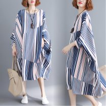 Women's large Summer 2021 Decor Average size [recommended 110-250 kg] Dress singleton  commute easy moderate Socket three quarter sleeve stripe literature Crew neck polyester printing and dyeing Bat sleeve W0306 51% (inclusive) - 70% (inclusive) Medium length