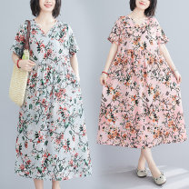 Dress Summer 2020 M [suggested 100-115 kg], l [suggested 115-130 kg], XL [suggested 130-145 kg], 2XL [suggested 145-160 kg] Mid length dress singleton  Short sleeve commute V-neck Loose waist Decor routine Type A literature pocket 51% (inclusive) - 70% (inclusive)