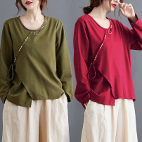 Women's large Spring 2021 Army green, rose red M [recommended 85-100 kg], l [recommended 100-120 kg], XL [recommended 120-140 kg], 2XL [recommended 140-160 kg] T-shirt singleton  commute easy moderate Socket Long sleeves Solid color literature Crew neck routine Polyester, cotton routine W0817