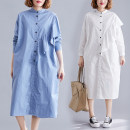Women's large Spring 2021 White, haze blue One size fits all [recommended 110-210 kg] Dress singleton  commute easy moderate Cardigan Long sleeves Solid color literature stand collar polyester shirt sleeve 51% (inclusive) - 70% (inclusive) Medium length Lotus leaf edge
