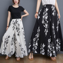 Casual pants White, black Average size [recommended 80-110 Jin] Summer 2021 trousers Wide leg pants High waist commute Thin money 51% (inclusive) - 70% (inclusive) H0609G polyester fiber literature pocket polyester fiber